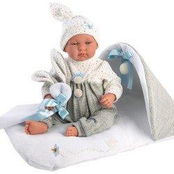 Muñeco Llorens 44 cm - Recién nacido Tino llorón con cambiador gris