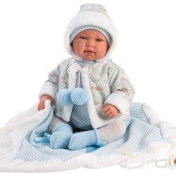 Muñeco Llorens 44 cm - Recién nacido Tino llorón con toquilla azul