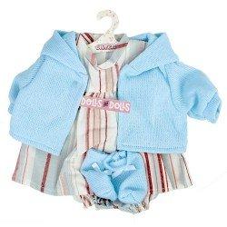 Ropa para Muñecas Llorens 42 cm - Conjunto estampado de rayas azul con chaqueta y peúcos