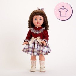 Ropa para muñeca Mariquita Pérez 50 cm - Vestido de cuadros burdeos