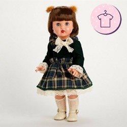 Ropa para muñeca Mariquita Pérez 50 cm - Vestido de cuadros verdes
