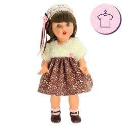Ropa para muñeca Mariquita Pérez 50 cm - Vestido marrón con florecitas
