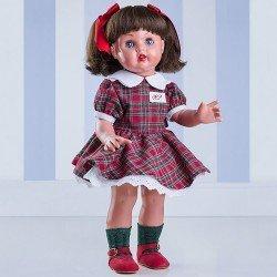 Muñeca Mariquita Pérez 50 cm - Con conjunto escocés verde y rojo