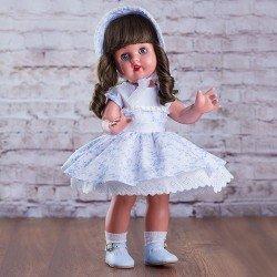 Muñeca Mariquita Pérez 50 cm - Con vestido blanco con flores celestes