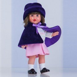 Muñeca Mini Mariquita Pérez 21 cm - Con conjunto capelina morada