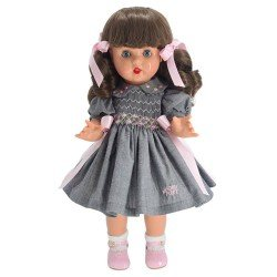 Muñeca Mariquita Pérez 50 cm - Con vestido gris y rosa