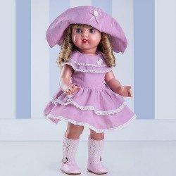 Muñeca Mariquita Pérez rubia con vestido lila