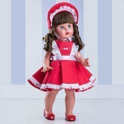 Muñeca Mariquita Pérez con vestido rojo y capota