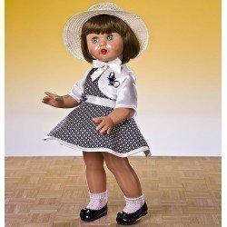 Muñeca Mariquita Pérez 50 cm - Con vestido de rombos marino con sombrero