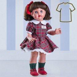 Ropa para muñeca Mariquita Pérez 50 cm - Conjunto escocés verde y rojo