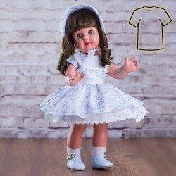 Ropa para muñeca Mariquita Pérez 50 cm - Vestido blanco con flores celestes