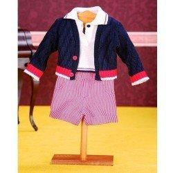 Ropa para muñeco Juanín Pérez 50 cm - Conjunto pantalón rallas blanco/rojo