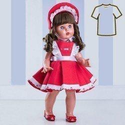 Ropa para muñeca Mariquita Pérez 50 cm - Vestido rojo y capota