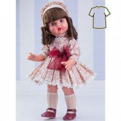 Ropa para muñeca Mariquita Pérez 50 cm - Vestido beige con flores bourdeos