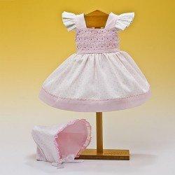 Ropa para muñeca Mariquita Pérez 50 cm - Vestido blanco topos rosa con capota