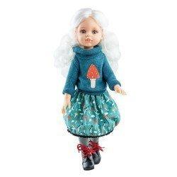 Muñeca Paola Reina 32 cm - Las Amigas Articuladas - Cécile con conjunto azul de invierno