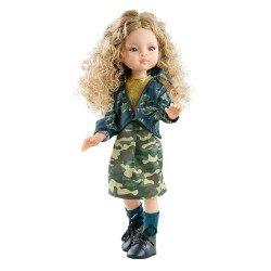 Muñeca Paola Reina 32 cm - Las Amigas Articuladas - Manica con conjunto de estampado militar