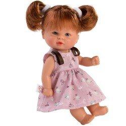Muñeca Así 20 cm - Bomboncín con vestido de pajaritos con fondo rosa