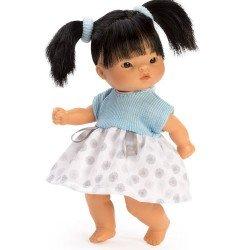 Muñeca Así 20 cm - Cheni con vestido de punto azul y pique blanco y gris