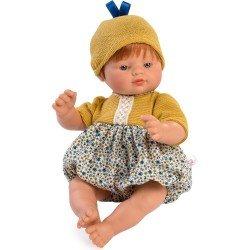 Muñeco Así 36 cm - Guille con pelele de flores azules y mostaza