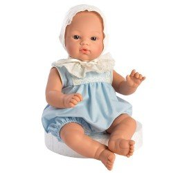 Muñeco Así 36 cm - Koke con pelele celeste con capota bordada beige