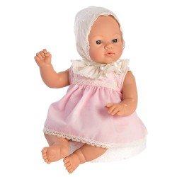 Muñeca Así 36 cm - Koke con vestido rosa con capota bordada beige