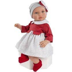 Muñeco Así 46 cm - Leo con vestido de flores grises y pechera roja