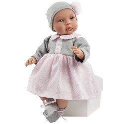 Muñeca Así 46 cm - Leo con vestido rosa y pechera gris