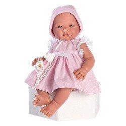 Muñeca Así 43 cm - María con vestido rosa con topos blancos