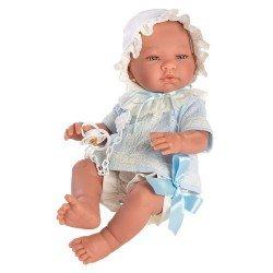 Muñeco Así 43 cm - Pablo con conjunto bebé de punto celeste con puntillas