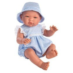 Muñeco Así 43 cm - Pablo con vestido azul con topos blancos