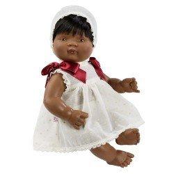 Muñeca Así 36 cm - Sammy con vestido de plumeti beige con lazos granates