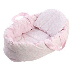 Complementos muñecas Así 36 a 46 cm - Capazo reversible grande rosa cachemir