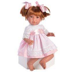 Muñeca Así 46 cm - Noor con vestido rosa con delantal blanco