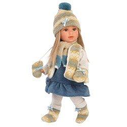 Muñeca Llorens 40 cm - Tina rubia con vestido azul