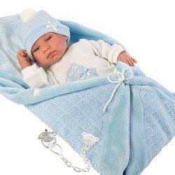 Muñeco Llorens 44 cm - Tino llorón con toquilla azul