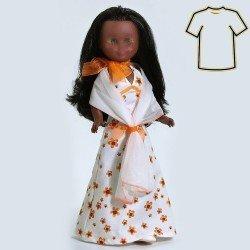 Ropa para muñeca Nancy 41 cm - Vestido largo viella estampado flores