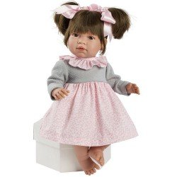Muñeca Así 46 cm - Noor con vestido de flores rosa con pechera gris