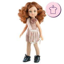 Ropa para muñecas Paola Reina 32 cm - Las Amigas - Vestido Cristi de pana y bolso de lentejuelas