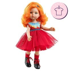 Ropa para muñecas Paola Reina 32 cm - Las Amigas - Vestido Susana de tul rojo