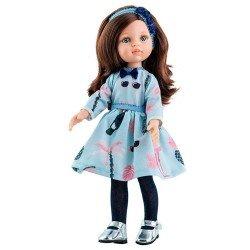 Muñeca Paola Reina 32 cm - Las Amigas - Carol con vestido azul estampado
