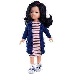 Muñeca Paola Reina 32 cm - Las Amigas - Liu con vestido de rayas y chaqueta azul