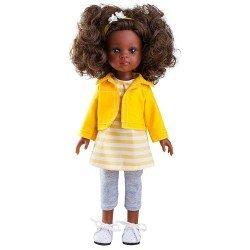 Muñeca Paola Reina 32 cm - Las Amigas - Nora con chaqueta amarilla y pantalón gris