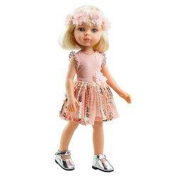 Muñeca Paola Reina 32 cm - Las Amigas Funky - Claudia con vestido rosa con lentejuelas