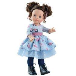 Muñeca Paola Reina 45 cm - Soy tú - Emily con vestido azul estampado