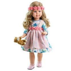 Muñeca Paola Reina 60 cm - Las Reinas - Alma con vestido de flores y osito