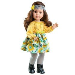Muñeca Paola Reina 60 cm - Las Reinas - Lidia con vestido de flores y cuadros