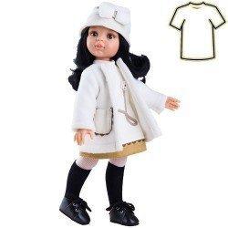 Ropa para muñecas Paola Reina 32 cm - Las Amigas - Abrigo blanco con vestido y gorro de Carina