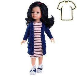 Ropa para muñecas Paola Reina 32 cm - Las Amigas - Vestido de rayas con chaqueta azul de Liu