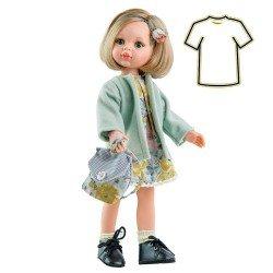 Ropa para muñecas Paola Reina 32 cm - Las Amigas - Vestido Carla con flores y abrigo azul